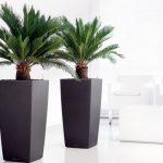 Een tropische woonkamer met kunst palmbomen